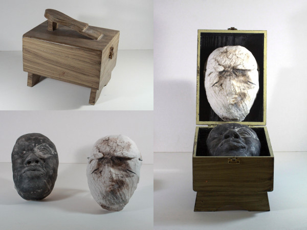 """Jouanne Roberson, """"Will We Fit? (WWF)"""". Mixed-Media Sculpture (Clay, Wood, Stain), sculpture, Assemblage, installation, modern art, art"""