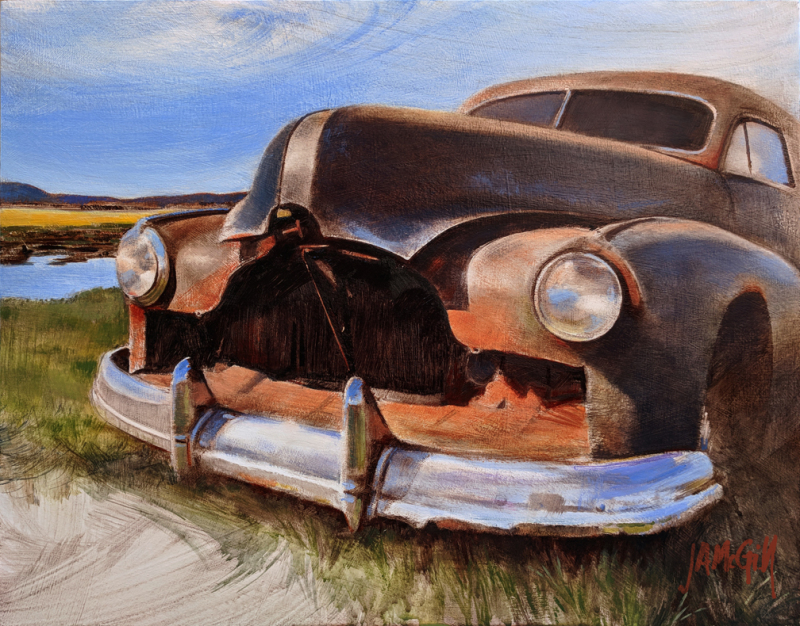 "Pontiac Patina | Oil on board | 14' x 11"""