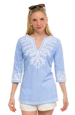 Gretchen Scott Embroidered Pinstripe Tunic