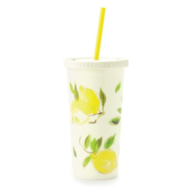 Kate Spade Lemons Tumbler with straw 20 oz