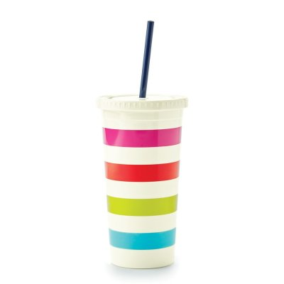 Kate Spade Candy Stripe Tumbler with straw 20 oz