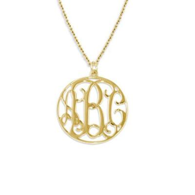 Monogrammed Circle Gold Plate Neckace