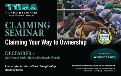 Claiming Seminar - Claiming Your Way to Ownership - December 7, Gulfstream Park