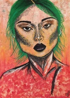 Spaces by Dee- Daniela Alilovic- Your freckled face-acrylic painting-portrait
