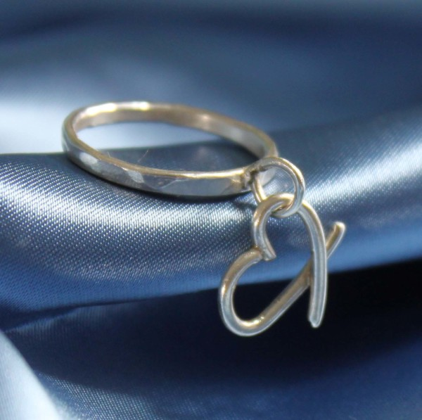 heart ring, stacking ring