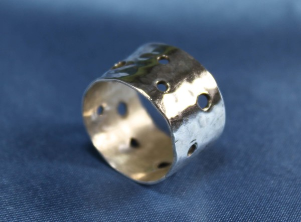 sterling silver hammered bubbles ring