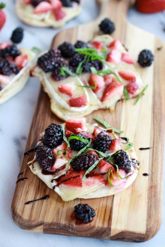 Grilled Blackberry, Strawberry, Basil and Brie Pizza