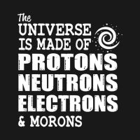 The universe is made of protons neutron electrons and morons t-shirt