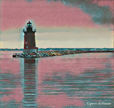 SkyBlue Pink over Breakwater Light