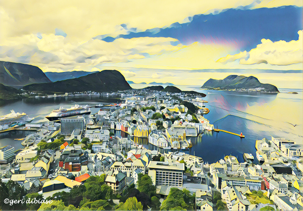 High above Alesund, Norway