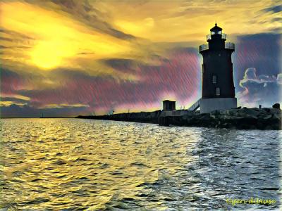 Sunset at Breakwater Light