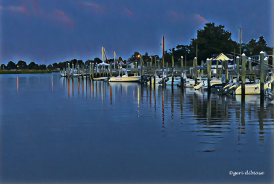 Dusk comes to Lewes Harbor