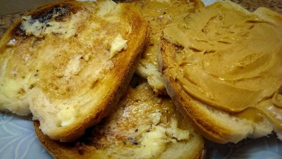 Peanut butter and maple cream on toast