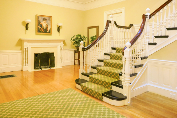 View of the Lobby Fireplace & Main Stair, 404 Marlborough St