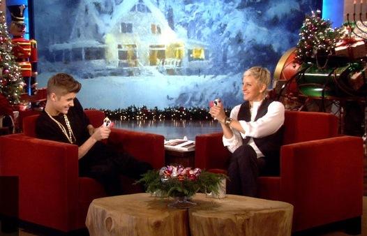 Justin Beeber & Ellen DeGeneris with Eagles View as back-drop