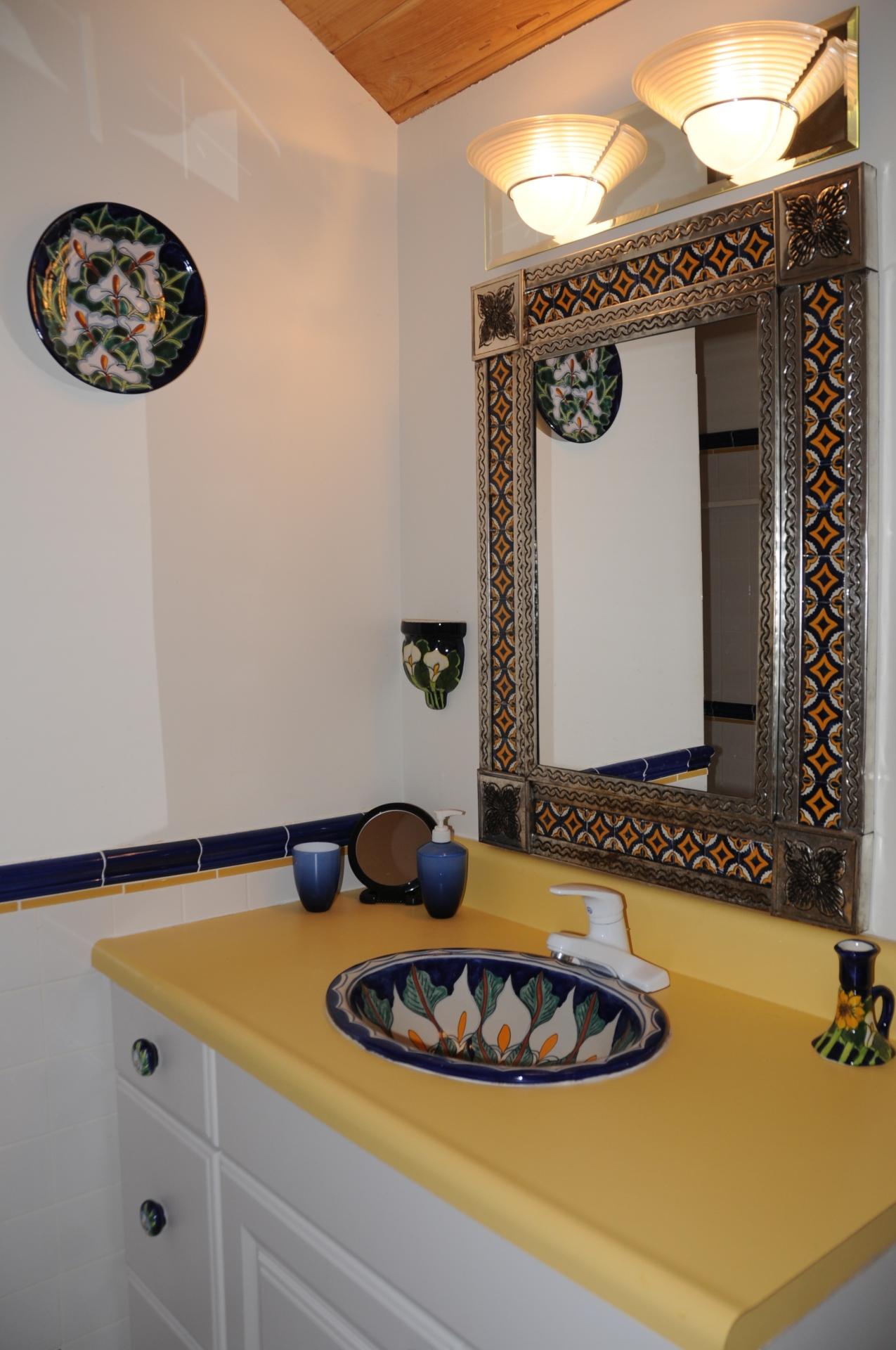 Bathroom. Sink, large shower, toilet
