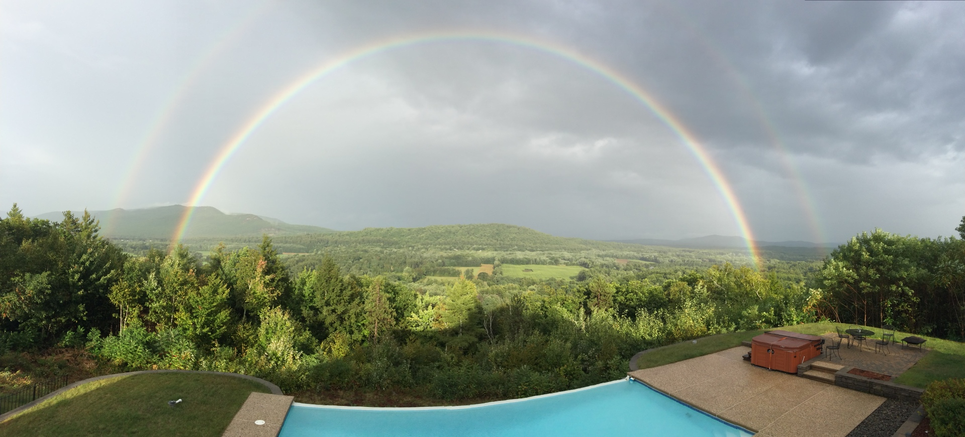 Infinity pool and double rainbow