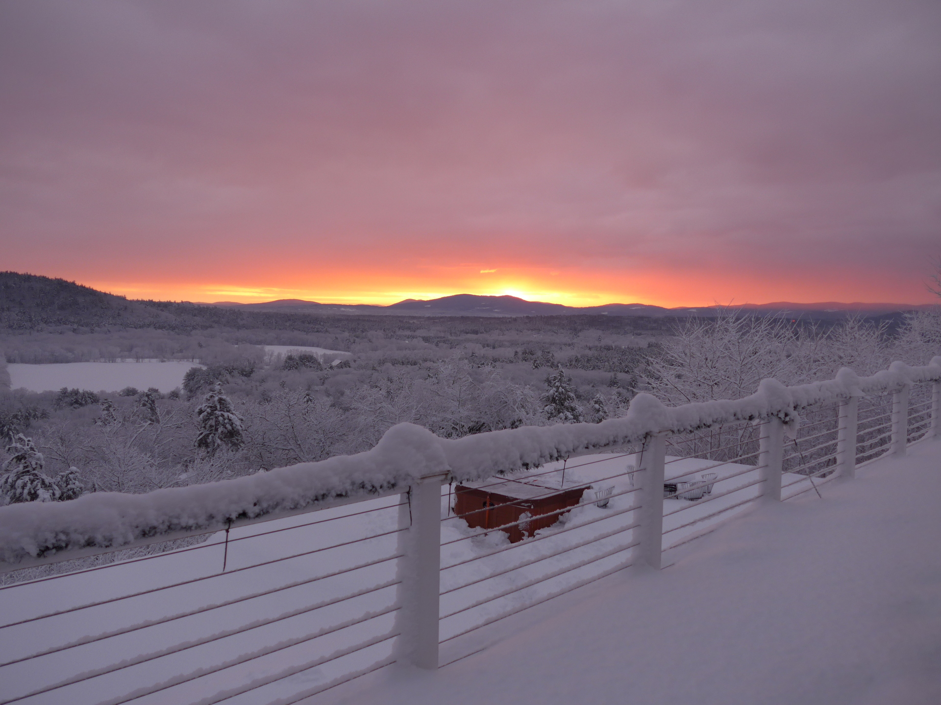 Winter sunrise from deck