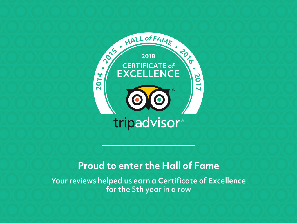 2018 Certificate of Excellence Hall of Fame TripAdvisor
