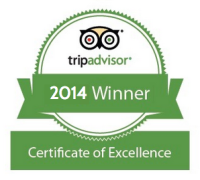 Winner 2014 Certificate of Excellence TripAdvisor.