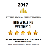City Beat News has proudly awarded BLUE WHALE INN, Westerly, RI, the 2017 Spectrum Award for Excellence in Customer Service.