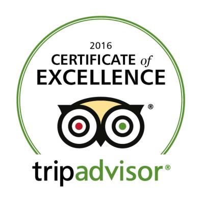 Winner 2016 Certificate of Excellence TripAdvisor.