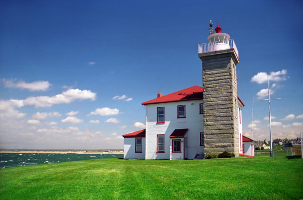 Watch Hill Lighthouse located in Watch Hill, Rhode Island.  Photo Credit Jeremy D'Entremont.
