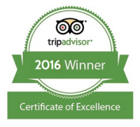 Winner 2015 Certificate of Excellence TripAdvisor.