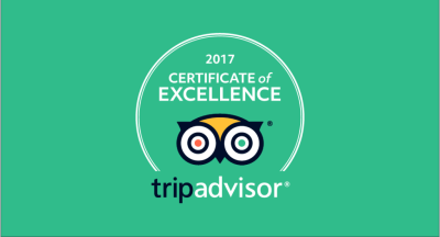 Winner 2016 Certificate of Excellence TripAdvisor.