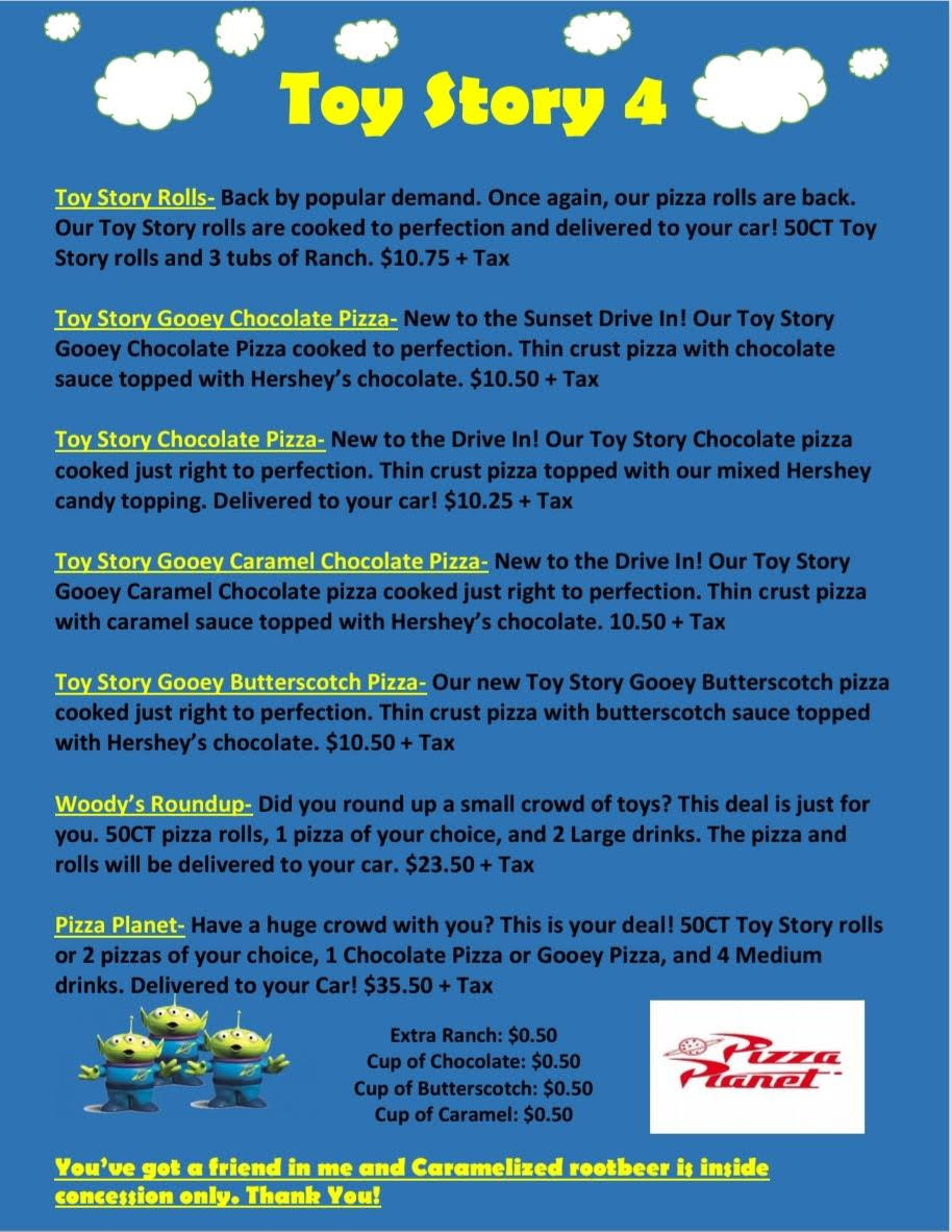 Toy Story Menu Continued