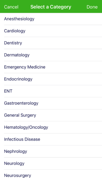 categories screen in algomed app