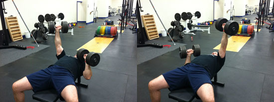 Unilateral or Alternating Dumbbell Bench Press