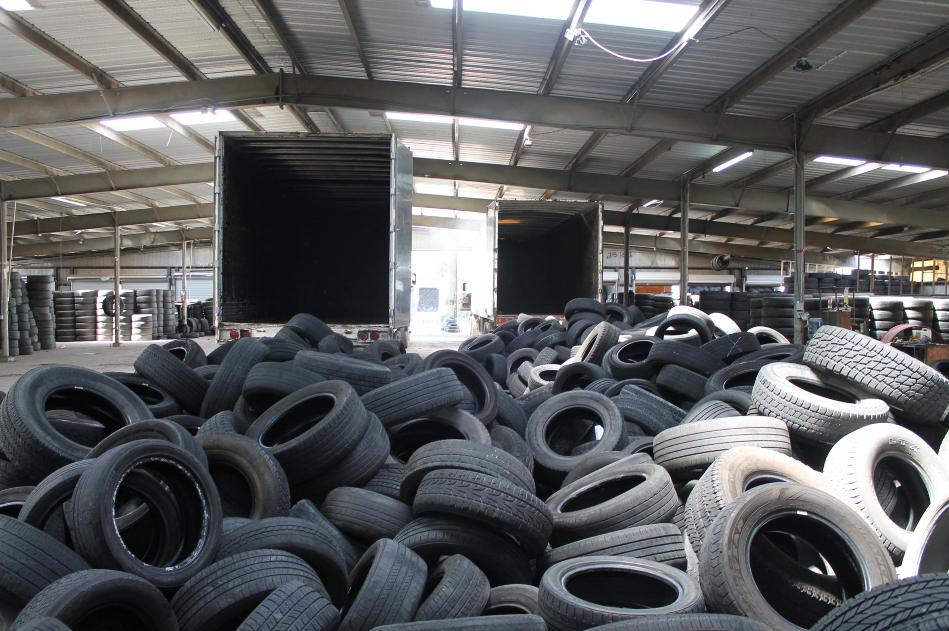 Recycled Tires ready for grading