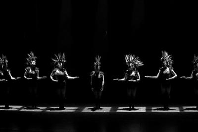 Dancescape troupe performing Bohemian Rhapsody in spotlights