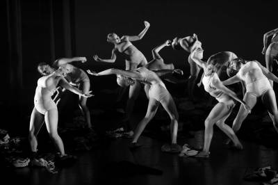 Contemporary dancers performing on stage