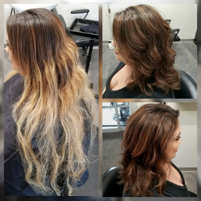 Full Balayage, All Over Color, Toner and Cut Before and After