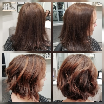 Before and After, balayage, and cut