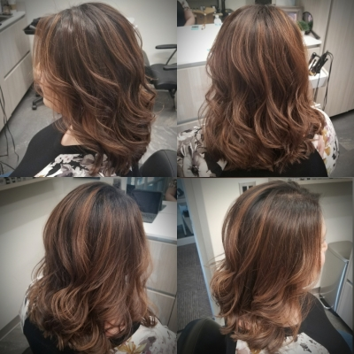 brunette balayage, first session, medium length cut