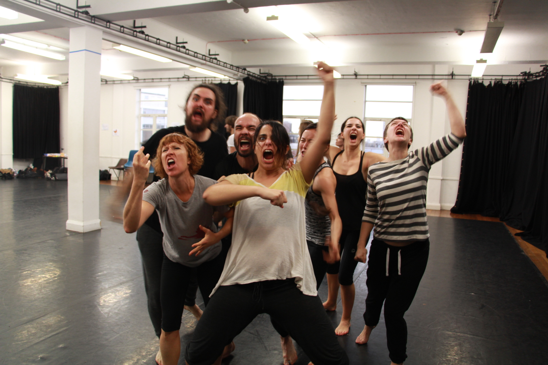 Participants in Tuesday's masterclass on Ensemble Movement, with Complicite associate artist Eric Ma