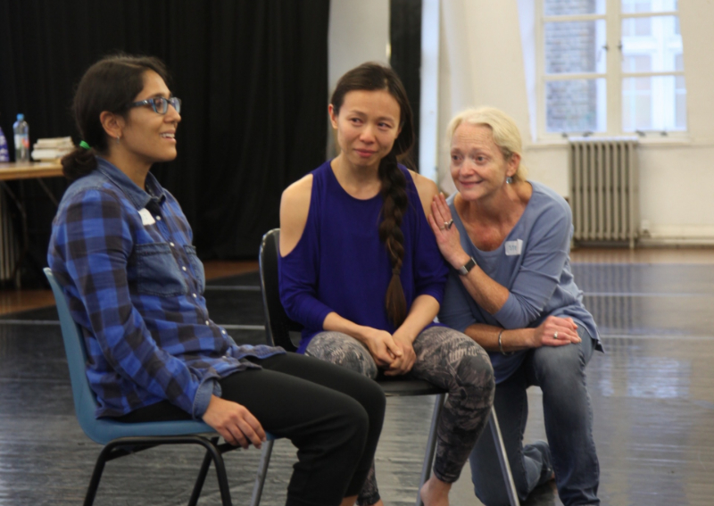 Naomi Joseph and Angela Yeoh improvise a LifeGame scene with Stella Duffy.