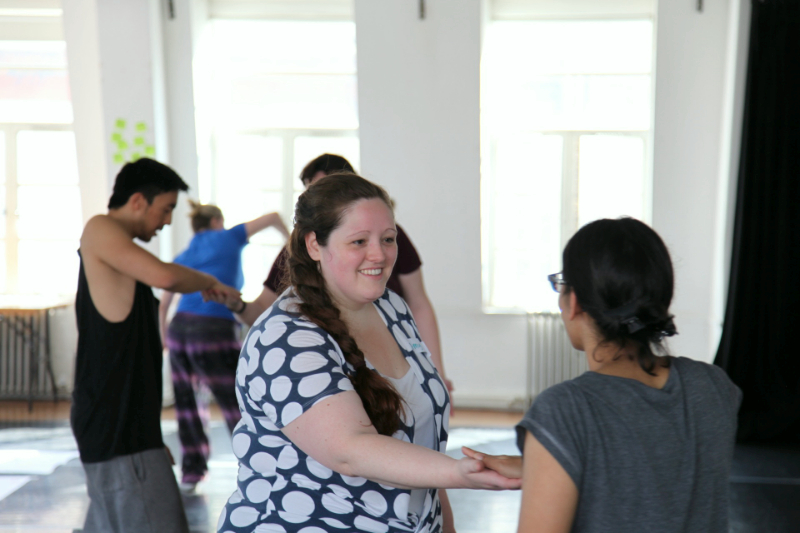 Amy Clare Tasker and Naomi Joseph participate in a physical theatre exercise led by Tashi Baiguerra.