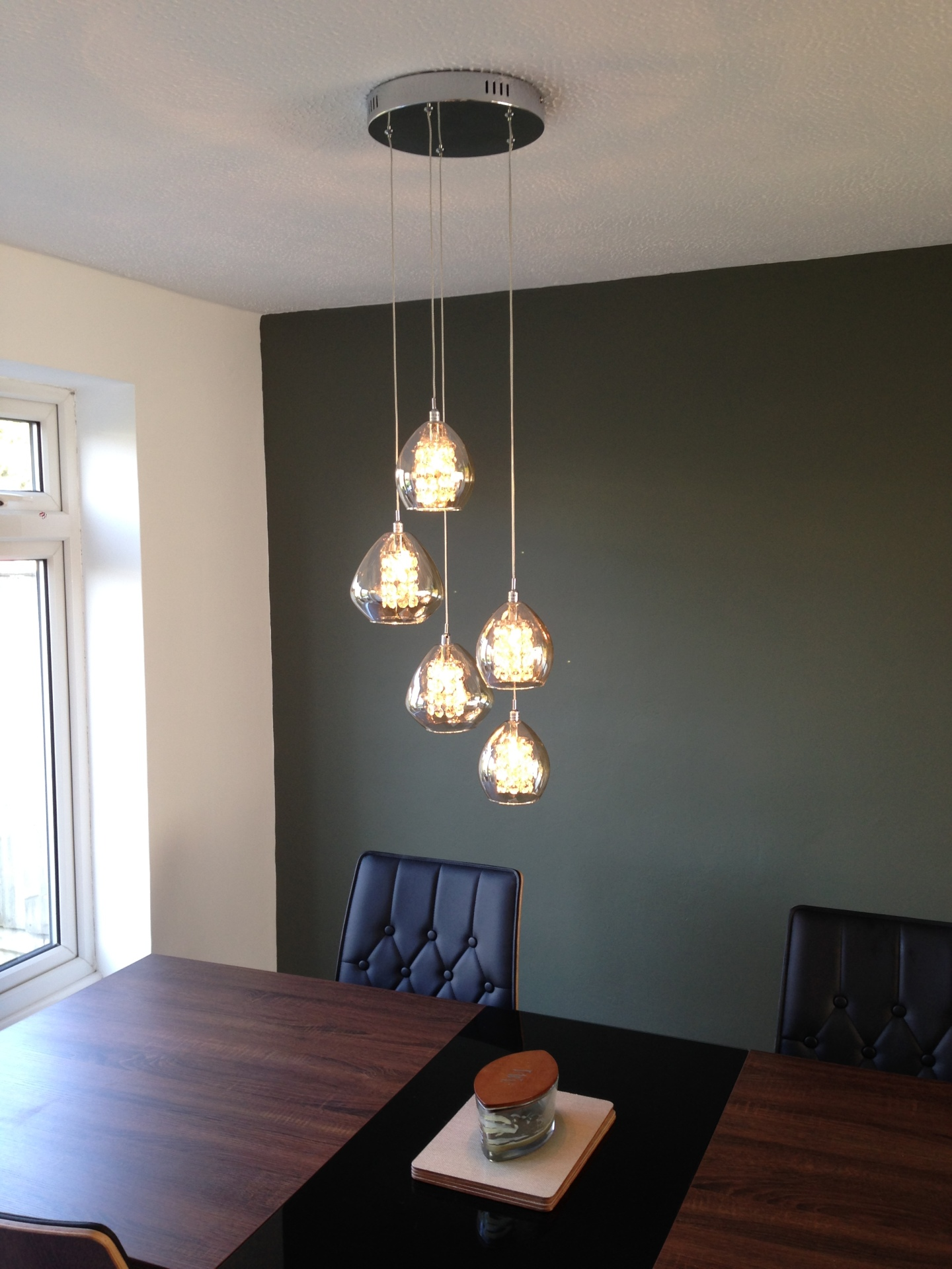 Ceiling pendent light fitted by an electrician from Scarlett Electrical in Witham Essex