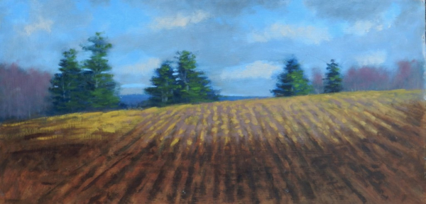 An oil painting on panel 12 x 24 of the landscape looking west at Harvey Mill farm in Epping, NH