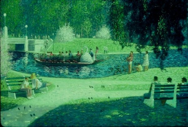 A 30 x 40 oil painting on canvas of the swanboats in the common in Boston, MA
