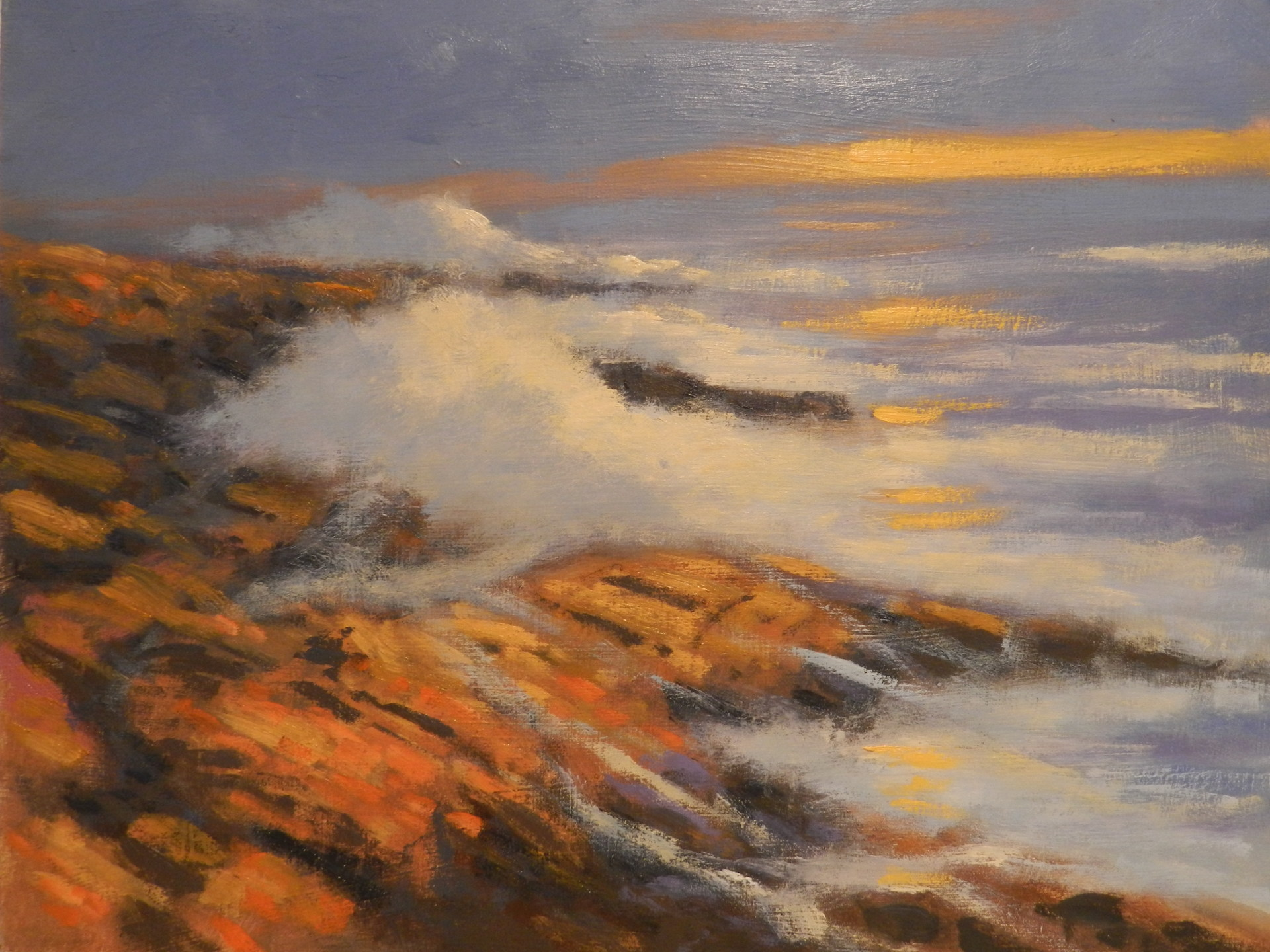 Oil Painting of the surf at Magnolia MA