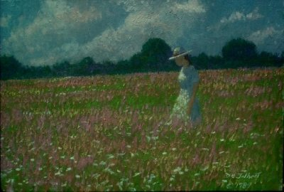 An impressionistic painting of a girls walking through a field of wildflowers 16 x 20 oil on board