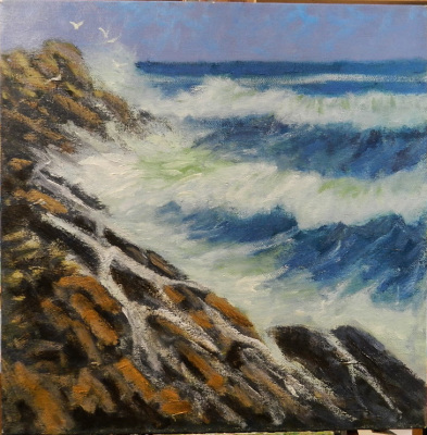 Crashing Waves 12 x 12 oil on canvas.  surf off the NH coast