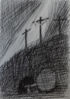 A crosshatched ink drawing of the three crosses and the empty tomb.