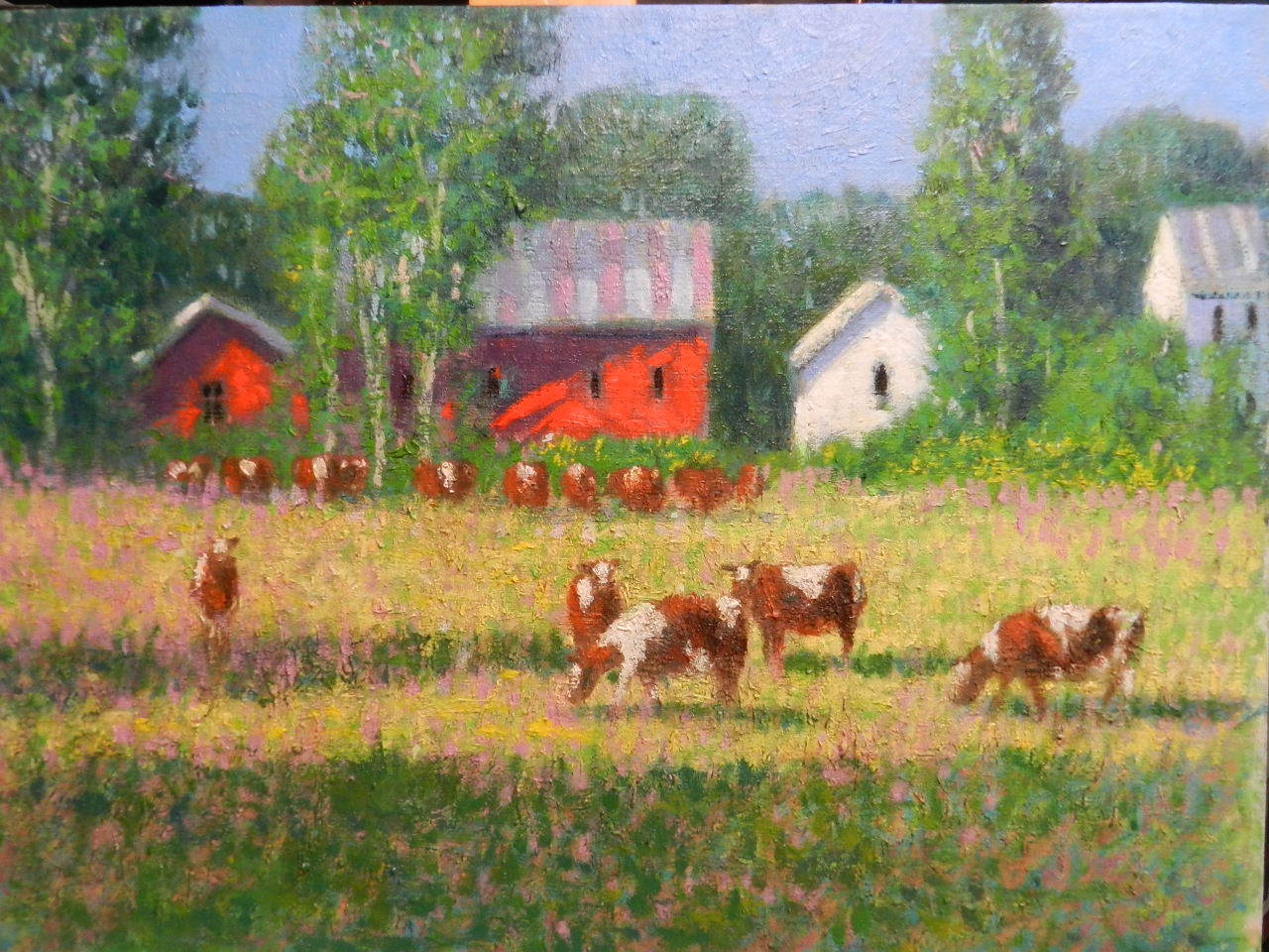 An impressionist oil painting of a farm, its buildings, and livestock.