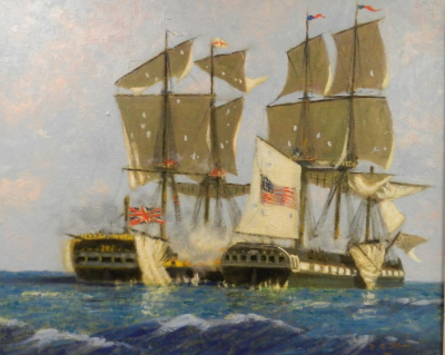 An oil painting of Two sailing ships engaged in battle based upon the USS Constitution